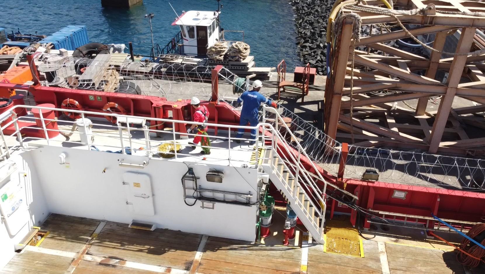 Razor wire installation tanker vessel